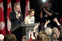 Shawinigan, Nov 28, 2000<br /> Reelected Prime Minister Jean Chretien and Wife Aline, wave at Liberal supporter at the begginning of Chretien Victory sppech, in his home Shawinigan riding<br /> Photo : Pierre Roussel