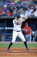 Jason Krizan (14) of the Toledo Mud Hens at bat against the Louisville Bats at Fifth Third Field on June 16, 2018 in Toledo, Ohio. The Mud Hens defeated the Bats 7-4.  (Brian Westerholt/Four Seam Images)