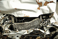 Remains of a car involved in a road traffic accident.