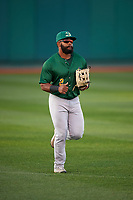 Beloit Snappers left fielder Logan Farrar (2) jogs off the field between innings of a Midwest League game against the Lansing Lugnuts at Cooley Law School Stadium on May 4, 2019 in Lansing, Michigan. Beloit defeated Lansing 2-1. (Zachary Lucy/Four Seam Images)