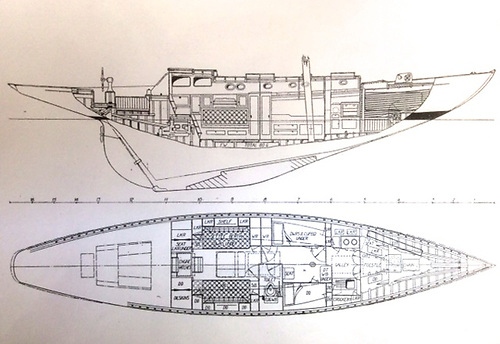 Northele's hull profile and accommodation as they appeared in a Yachting World special Design Supplement in March 1950. Note how the propeller emerges from immediately above the rudder, and also how galley is located forward