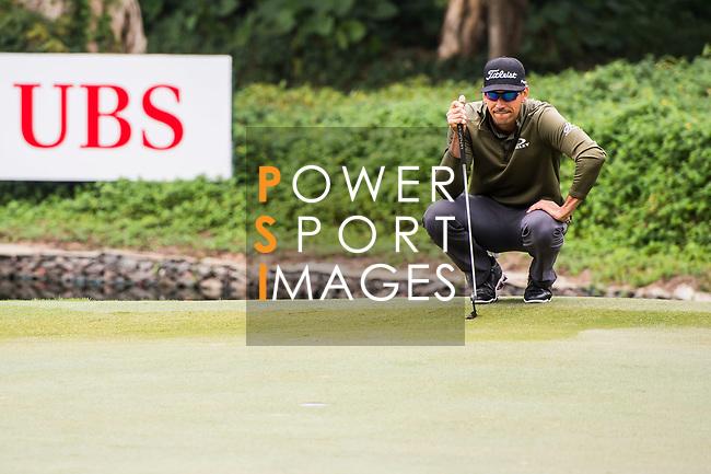 Rafa Cabrera Bello of Spain lines up a putt during the day three of UBS Hong Kong Open 2017 at the Hong Kong Golf Club on 25 November 2017, in Hong Kong, Hong Kong. Photo by Marcio Rodrigo Machado / Power Sport Images
