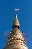Myanmar, Burma.  The Hti, a Tiered Umbrella, Tops the  Shwezigon (Shwezegon)  Pagoda, in Nyaung Oo, near Bagan.