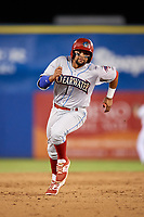 Clearwater Threshers Drew Stankiewicz (15) running the bases during a game against the Dunedin Blue Jays on April 8, 2017 at Florida Auto Exchange Stadium in Dunedin, Florida.  Dunedin defeated Clearwater 12-6.  (Mike Janes/Four Seam Images)