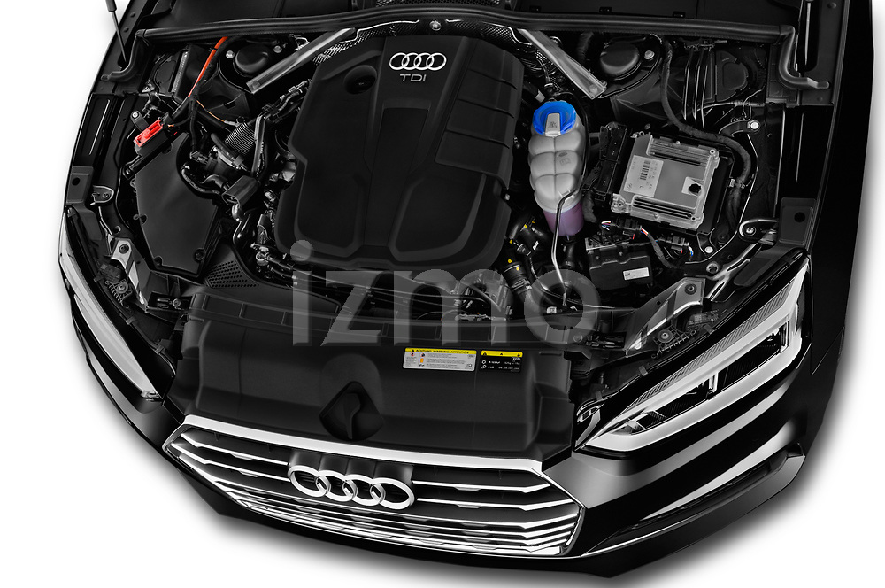 Car stock 2018 Audi A5 Sportback Premium Plus  5 Door Hatchback engine high angle detail view
