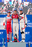 Daniel Abt  (c) of Germany from Audi Sport ABT Schaeffler, Felix Rosenqvist (l) of Sweden from Mahindra Racing and Edoardo Mortara of Switzerland from Venturi Formula E Team pose for photos at the podium after the FIA Formula E Hong Kong E-Prix Round 2 at the Central Harbourfront Circuit on 03 December 2017 in Hong Kong, Hong Kong. Photo by Marcio Rodrigo Machado / Power Sport Images