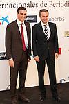 """King Felipe of Spain and Queen Letizia of Spain attend 'XIII EDICIÓN DE LOS PREMIOS INTERNACIONALES DE PERIODISMO 2013 Y CONMEMORACIÓN DEL 25º ANIVERSARIO DEL DIARIO """"EL MUNDO"""" at The Westin Palace Hotel. <br /> Pedro Sanchez and Jose Luis Rodriguez Zapatero<br /> October 20, 2014. (ALTERPHOTOS/Emilio Cobos)"""