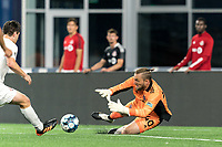 FOXBOROUGH, MA - JULY 9: Caleb Patterson-Sewell #40 of Toronto FC II makes a save during a game between Toronto FC II and New England Revolution II at Gillette Stadium on July 9, 2021 in Foxborough, Massachusetts.