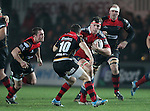 Robin Copeland of Munster Rugby is challenged by Fly half Dorian Jones of Newport Gwent Dragons.<br /> <br /> Guiness Pro 12<br /> Newport Gwent Dragons v Munster Rugby<br /> Rodney Parade<br /> 21.11.14<br /> ©Steve Pope-SPORTINGWALES