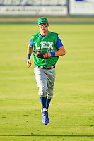 Lexington Legends center fielder Bubba Starling (11) jogs off the field between innings of the South Atlantic League game against the Kannapolis Intimidators at CMC-Northeast Stadium on July 29, 2013 in Kannapolis, North Carolina.  The Intimidators defeated the Legends 10-5.  (Brian Westerholt/Four Seam Images)
