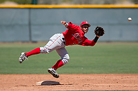 Los Angeles Angels second baseman Kevin Arias (21) during an Extended Spring Training game against the Chicago Cubs at Sloan Park on April 14, 2018 in Mesa, Arizona. (Zachary Lucy/Four Seam Images)