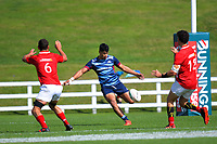 Sofia Maka kicks during the 2021 Bunnings Super Rugby Aotearoa Under-20 rugby match between the Barbarians and Blues at Owen Delaney Park in Taupo, New Zealand on Tuesday, 14 April 2020. Photo: Dave Lintott / lintottphoto.co.nz