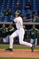 USF Bulls infielder/outfielder Luke Borders (4) at bat during a game against the Louisville Cardinals on February 14, 2015 at Bright House Field in Clearwater, Florida.  Louisville defeated USF 7-3.  (Mike Janes/Four Seam Images)