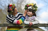 BNPS.co.uk (01202 558833)<br /> Pic: ZacharyCulpin/BNPS <br /> <br /> Weather input - <br /> <br /> Crowning glories: Dorset Flower Farmers, the Priestley family perfect their flower crown-making ahead of Garden Day on Sunday 9th May, the nationwide celebration of the benefits of gardens for health and wellbeing.  <br /> <br /> Pictured: Flower Farmer, Katie Priestley and daughter Arabella Priestley, 5, with their flower crowns<br /> <br /> Garden Day will be back for a third successive year on Sunday, 9th May 2021 to celebrate outdoor and indoor garden spaces. The nationwide  movement is calling on plant-lovers to make a flower crown, and share their plant spaces with family and<br /> friends
