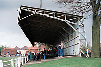 The main stand at Heanor Town FC Football Ground, The Town Ground, Mayfield Avenue, Heanor, Derbyshire, pictured on 12th April 1993
