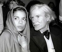1978 FILE PHOTO<br /> New York City<br /> Bianca Jagger Andy Warhol at Studio 54<br /> Photo by Adam Scull-PHOTOlink.net
