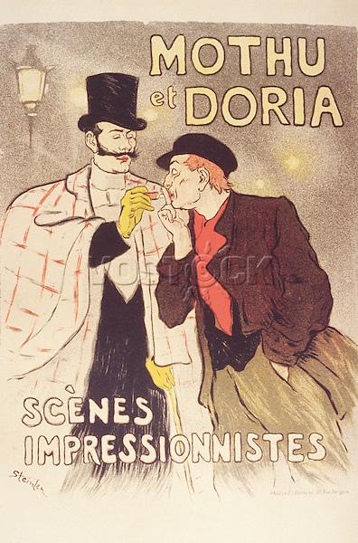 Post Mothu et Doria: scenes impressionnistes, illustration by ophile-Alexandre Steinlen, poster, 1893
