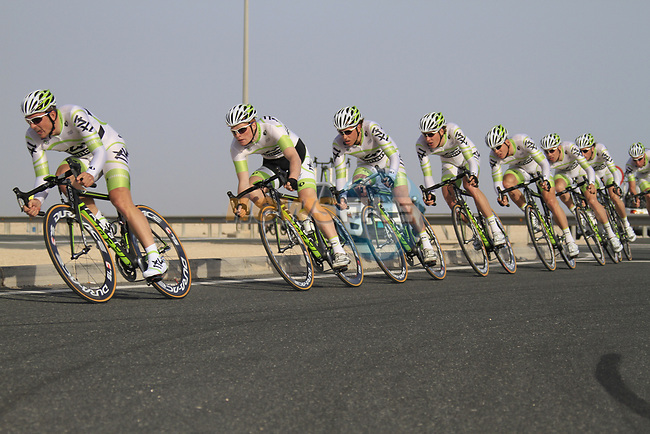 Project IT4i team led by John Degenkolb (GER) in action during the 2nd Stage of the 2012 Tour of Qatar an 11.3km team time trial at Lusail Circuit, Doha, Qatar. 6th February 2012.<br /> (Photo Eoin Clarke/Newsfile)