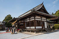 Japan, Okayama Prefecture, Kurashiki. temple at Tsuru gata yama park. Bride and groom.