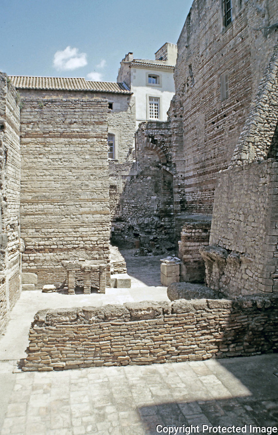 Frigidarium at the Baths of Constantine. Roman baths in Arles France.