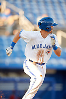 Dunedin Blue Jays third baseman Nash Knight (35) runs to first base during a game against the Fort Myers Miracle on April 17, 2018 at Dunedin Stadium in Dunedin, Florida.  Dunedin defeated Fort Myers 5-2.  (Mike Janes/Four Seam Images)