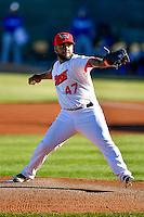 Orem Owlz starting pitcher Ramon Rodriguez (47) delivers a pitch to the plate against the Ogden Raptors in Pioneer League action at Home of the Owlz on June 25, 2016 in Orem, Utah. Orem defeated Ogden 4-1.  (Stephen Smith/Four Seam Images)