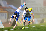 St Johnstone v Kilmarnock…06.11.20   McDiarmid Park SPFL<br />Gary Dicker fouls Craig Conway<br />Picture by Graeme Hart.<br />Copyright Perthshire Picture Agency<br />Tel: 01738 623350  Mobile: 07990 594431