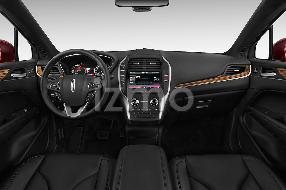 Stock photo of straight dashboard view of a 2018 Lincoln MKC FWD 5 Door SUV Dashboard