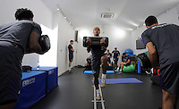 Pictured: Wayne Routledge works out in the gym Wednesday 14 September 2016<br />Re: Swansea City FC training at Fairwood, Wales, UK