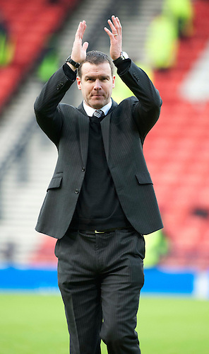 GLASGOW, SCOTLAND - JANUARY 28:   Ayr United's manager Brian Reid dejection at the end of during the Scottish Communities Cup Semi Final match between Ayr United and Kilmarnock at Hampden Park on January 28, 2012 in Glasgow, United Kingdom. (Photo by Rob Casey/Getty Images).