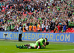 Tranmere Rovers 1 Forest Green Rovers 3, 14/05/2017. Wembley Stadium, Conference play off Final. Forest Green fans and /players celebrate promotion at full time during the Vanarama Conference play off Final  between Tranmere Rovers v Forest Green Rovers at the Wembley. Photo by Paul Thompson.