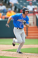 Akron RubberDucks right fielder Mike Papi (38) runs to first base during the first game of a doubleheader against the Bowie Baysox on June 5, 2016 at Prince George's Stadium in Bowie, Maryland.  Bowie defeated Akron 6-0.  (Mike Janes/Four Seam Images)