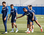 19.04.2019 Rangers training: Alfredo Morelos grabs James Tavernier's injured wrist