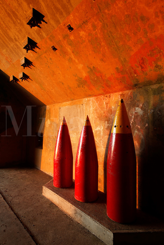 16-inch artillery shells standing at Historic Camp Hayden, Salt Creek Recreation Area, Clallam County, Washington, USA
