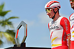 Elia Viviani (ITA) Cofidis at sign on before the start of Stage 7 of the 2021 UAE Tour running 165km from Yas Island to Abu Dhabi Breakwater, Abu Dhabi, UAE. 27th February 2021.<br /> Picture: LaPresse/Gian Mattia D'Alberto   Cyclefile<br /> <br /> All photos usage must carry mandatory copyright credit (© Cyclefile   LaPresse/Gian Mattia D'Alberto)