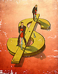 Businessmen repairing dollar sign together over colored background depicting troubleshooting