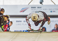 9 January 2016: Barrett Martineau, competing for Canada, pushes off for his first run start of the BMW IBSF World Cup Skeleton race at the Olympic Sports Track in Lake Placid, New York, USA. Martineau ended the day with a combined 2-run time of 1:50.90 and a 12th place overall finish. Mandatory Credit: Ed Wolfstein Photo *** RAW (NEF) Image File Available ***