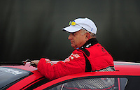 Nov. 12, 2011; Pomona, CA, USA; NHRA pro stock driver V. Gaines during qualifying at the Auto Club Finals at Auto Club Raceway at Pomona. Mandatory Credit: Mark J. Rebilas-.