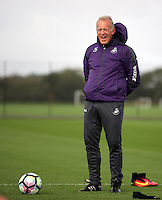 Pictured: Alan Curtis watches the training session Thursday 29 September 2016<br /> Re: Swansea City FC training at Fairwood, Wales, UK