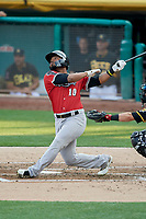 Anthony Garcia (10) of the Nashville Sounds bats against the Salt Lake Bees at Smith's Ballpark on July 27, 2018 in Salt Lake City, Utah. The Bees defeated the Sounds 8-6. (Stephen Smith/Four Seam Images)