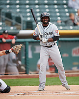 Jose Pirela (12) of the El Paso Chihuahuas at bat against the Salt Lake Bees in Pacific Coast League action at Smith's Ballpark on April 30, 2017 in Salt Lake City, Utah.   El Paso defeated Salt Lake 12-3. This was Game 2 of a double-header originally scheduled on April 28, 2017.(Stephen Smith/Four Seam Images)
