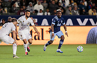 CARSON, CA - MARCH 07: Cristian Dajome #11 of the Vancouver Whitecaps moves with the ball during a game between Vancouver Whitecaps and Los Angeles Galaxy at Dignity Health Sports Park on March 07, 2020 in Carson, California.