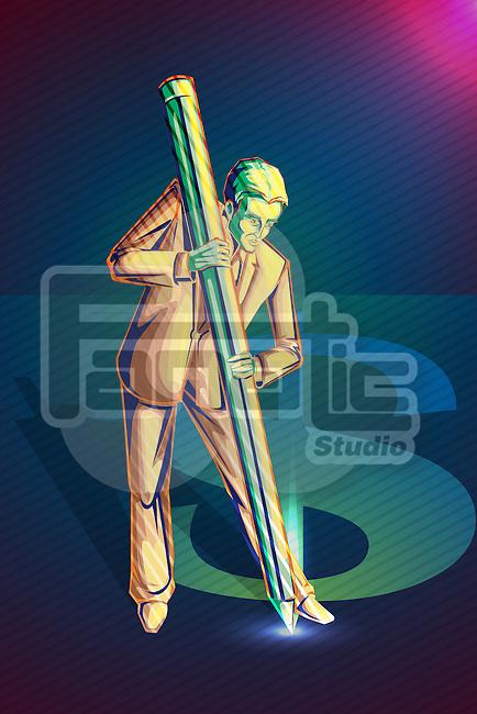 Illustrative image of businessman creating dollar sign representing aim and development