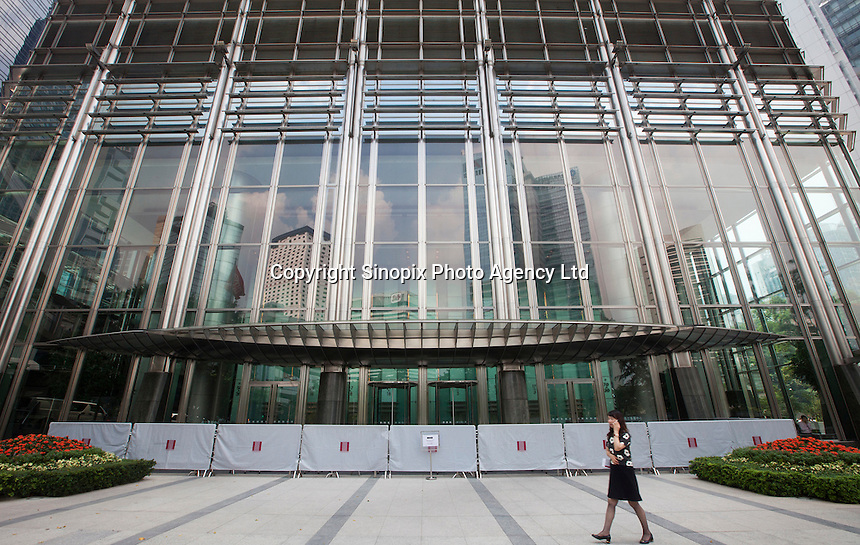 The sealed off entrance of Cheung Kong Centre belonging to Hutchison Whampoa, the company owned by Hong Kong's richest tycoon, Li Ka-shing, is seen on day three of the mass civil disobedience campaign Occupy Central, Hong Kong, China, 30 September 2014.
