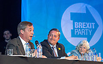 Brexit Party EU elections campaign launch at  The Neon in Newport, South Wales. Brexit Party Leader Nigel Farage speaking to delegates alongside James Wells, Brexit Party candidate and fellow Brexit Party politician Ann Widdecombe.