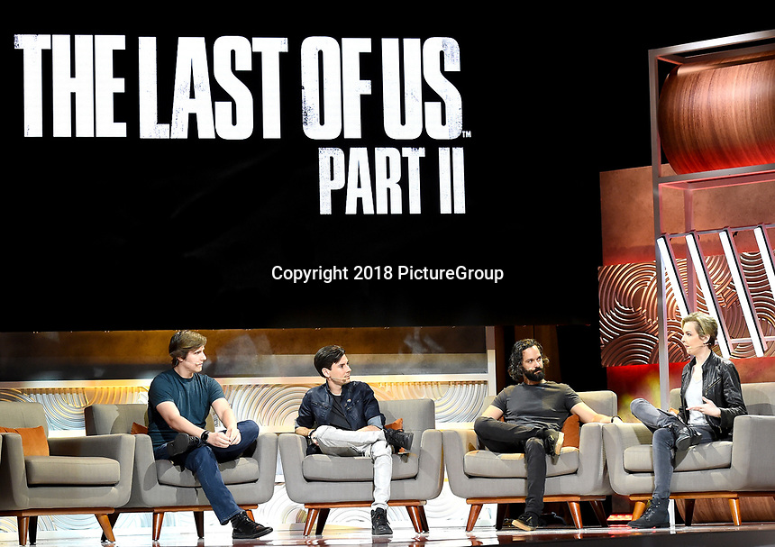 """LOS ANGELES - JUNE 12: L-R: """"The Last of Us Part II"""" Co-Game Directors Kurt Margenau and Anthony Newman, Director/Writer Neil Druckmann and IGN Lucy O'Brien attend the E3 Coliseum event at the The Novo at L.A. Live on June 12, 2018 in Los Angeles, California. (Photo by Frank Micelotta/PictureGroup)"""
