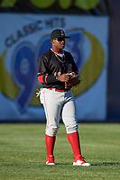 Batavia Muckdogs left fielder Albert Guaimaro (13) during a game against the Auburn Doubledays on June 15, 2018 at Falcon Park in Auburn, New York.  Auburn defeated Batavia 5-1.  (Mike Janes/Four Seam Images)