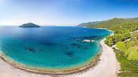 The beach Milia of Skopelos island from drone, Greece