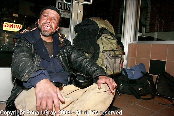 """21 January 2008.  Ocean Beach, San Diego, CA:  Frank Montoya, 47, aka """"Cisco"""" is seen sitting in the entrance of a store on Newport Avenue in Ocean Beach, San Diego California.  Police have identified Montoya and another man, Damian Maple, 21 as the suspects who allegedly beat a 26-year-old Australian tourist with a skateboard, leaving him unconscious in a fire ring on Abbot Street in Ocean Beach on Wednesday, Feb. 27 at about 5:20 a.m.  The story was featured on the Saturday March 29 edition of the FOX Television Show, America's Most Wanted.  The victim, Robert Schneider, 26, is recovering in a local hospital."""