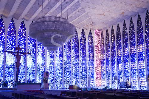 Brasilia, Brazil. Interior of the Dom Bosco Sanctuary Church (Santuario Dom Bosco) by architect Carlos Alberto Naves.